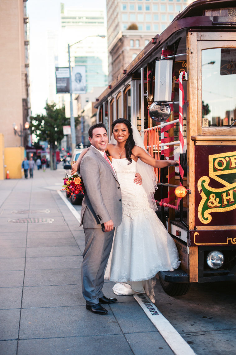 trolly car wedding portrait